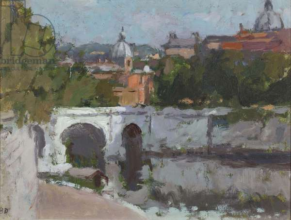 Rome from Ponte Umberto, 1972 (oil on canvas board)