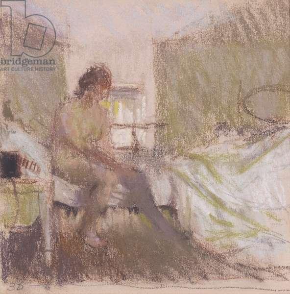 Putting on Stockings, 1984 (pastel)