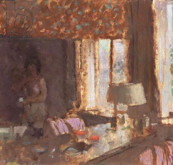 Room with a Mirror, Ardres, 1988 (oil on canvas laid on board)