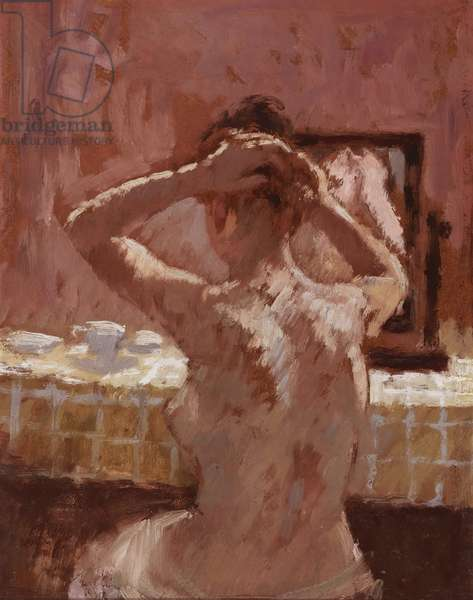 Girl doing her Hair, 1971 (oil on canvas board)