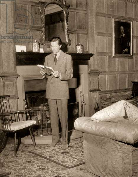 Charles Manners, 10th Duke of Rutland in the private Drawing Room, Belvoir Castle (b/w photo)
