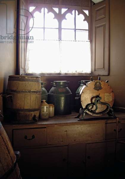Kitchen equipment on the window sill in the Pastry Room, Belvoir Castle, Leicestershire (photo)