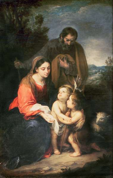The Holy Family with the infant St. John (oil on canvas)