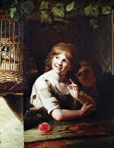 Two Girls with a Jay in a Cage (oil on canvas)