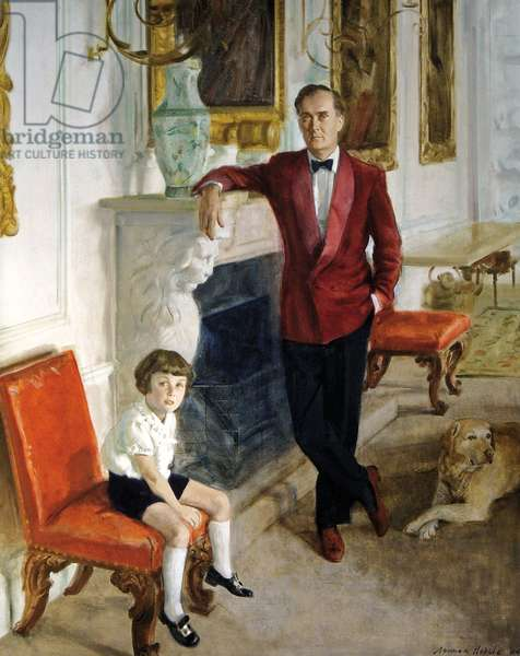 Charles, the 10th Duke of Rutland with his son David and a yellow labrador called Belvoir, 1963 (oil on canvas)