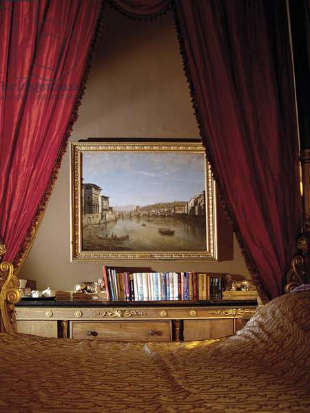 'A View of Florence with Bridge over the Arno', by William Marlow in the Brown Bedroom, Belvoir Castle, Leicestershire (photo)