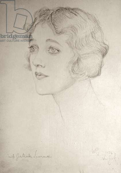 Miss Gertrude Lawrence, 1924 (pencil on paper)