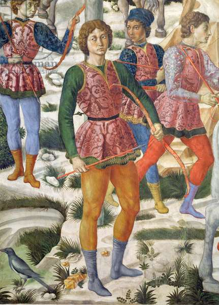 Liveried archers, detail from the Journey of the Magi cycle in the chapel, c.1460 (fresco) (detail of 70630)