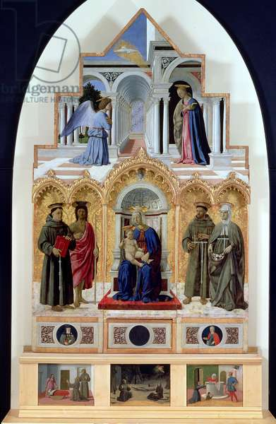 Altarpiece: Annunciation; Madonna and Child with Saints; Miracles of St. Anthony, St. Francis and St. Elizabeth (tempera on panel)