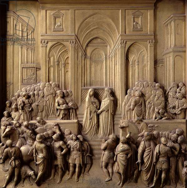 The Meeting of King Solomon and the Queen of Sheba, one of ten relief panels from the Gates of Paradise (East doors), 1425-52 (gilt bronze) (see also 87652-60 & 87662-67)