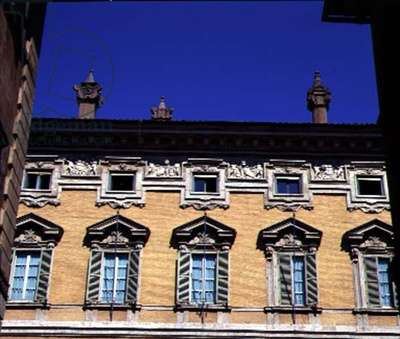 View of the facade, detail of the upper storeys, designed by Paolo Marucelli, based on a design by Cigoli (1559-1613) 1637-42 (photo)