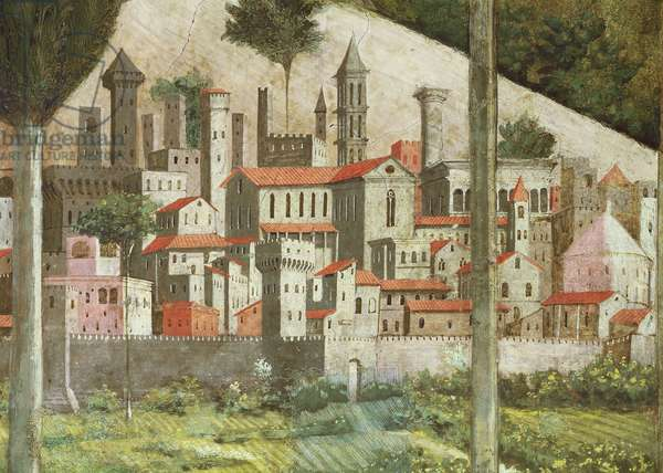 Medieval town, detail from the Journey of the Magi cycle in the chapel, c.1460 (fresco) (detail of 70610)