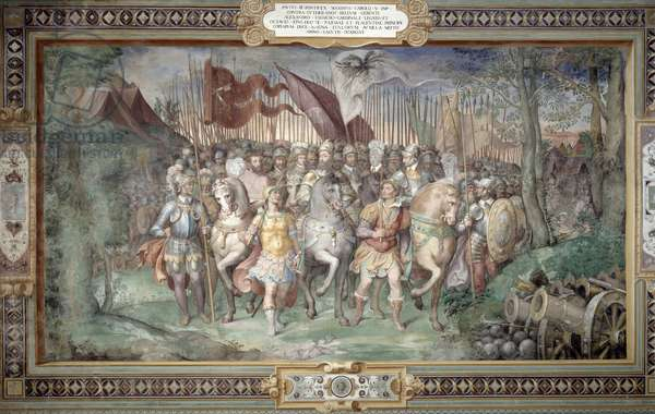 Charles V (1500-58) Alessandro (1546-92) and Ottaviano Farnese Leading the Army Against the Landgrave Phillip of Hesse in 1546 from the 'Sala dei Fasti Farnese' (Hall of the Splendors of the Farnese) 1557-66 (fresco)