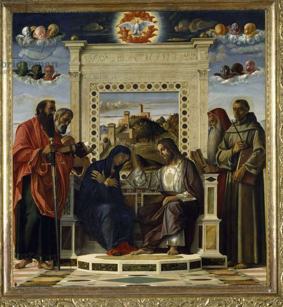 Coronation of the Virgin with SS. Paul, Peter, Jerome and Francis of Assisi with scenes from the lives of the saints in the predella panel, known as the 'Pala di Pesaro' altarpiece, c.1474 (oil on panel) (see also 85578)