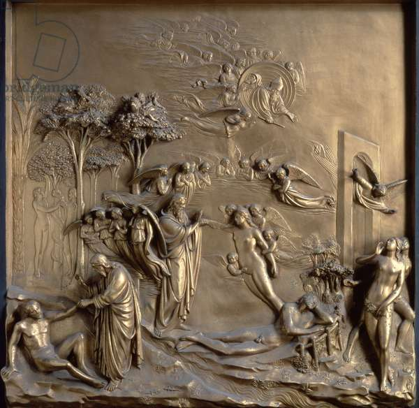 The Story of Adam: the Creation of Adam and Eve, the Temptation and the Expulsion from the Garden, one of ten relief panels from the Gates of Paradise (East doors) by Lorenzo Ghiberti (1378-1455) 1425-52 (gilt bronze) (see also 87653-67)