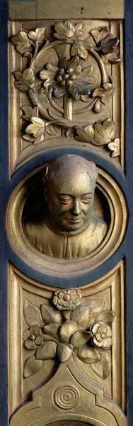 Self portrait on a roundel from the frame of the Gates of Paradise (East doors) 1425-52 (gilt bronze) (see also 87652-61 & 87663-67)
