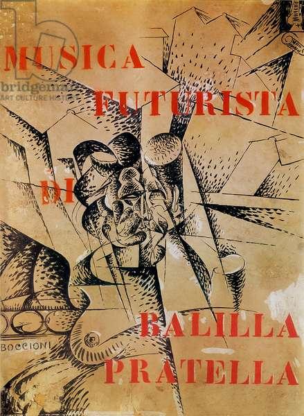 Design for the cover of 'Musica Futurista' by Francesco Balilla Pratella (1880-1955), 1912 (tempera and ink on cardboard)