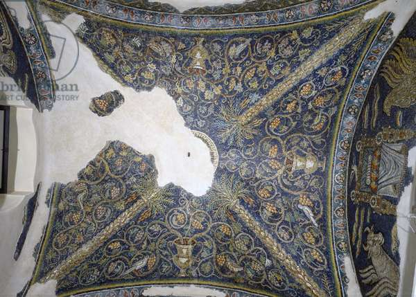 View of the vaulted ceiling, from the Cappella di Santa Matrona (fresco)