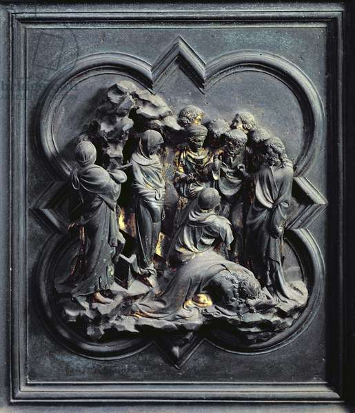 The Raising of Lazarus, tenth panel of the North Doors of the Baptistery of San Giovanni, 1403-24 (bronze)