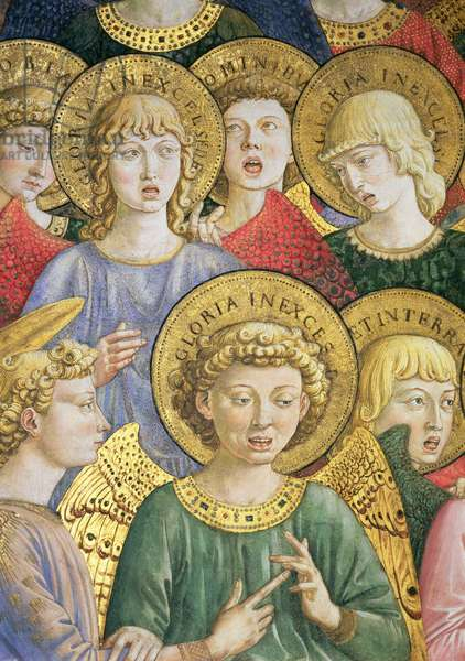 Choir of Angels, detail from the Journey of the Magi cycle in the chapel, c.1460 (fresco) (detail of 70610)