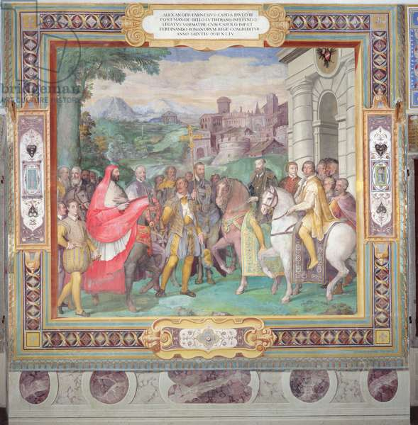 Charles V (1500-58) with Alessandro Farnese (1546-92) at Worms, from the 'Sala dei Fasti Farnese' (Hall of the Splendors of the Farnese) 1557-66 (fresco) (see also 156715)