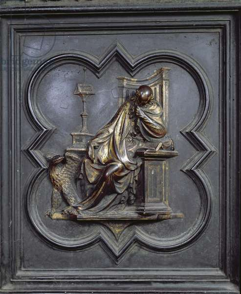 St John the Evangelist, panel A of the North Doors of the Baptistery of San Giovanni, 1403-24 (bronze)