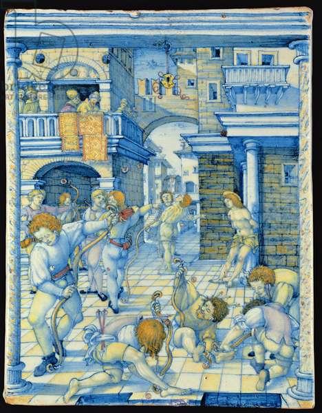Maiolica plaque depicting the Martyrdom of St. Sebastian, Italian (ceramic)