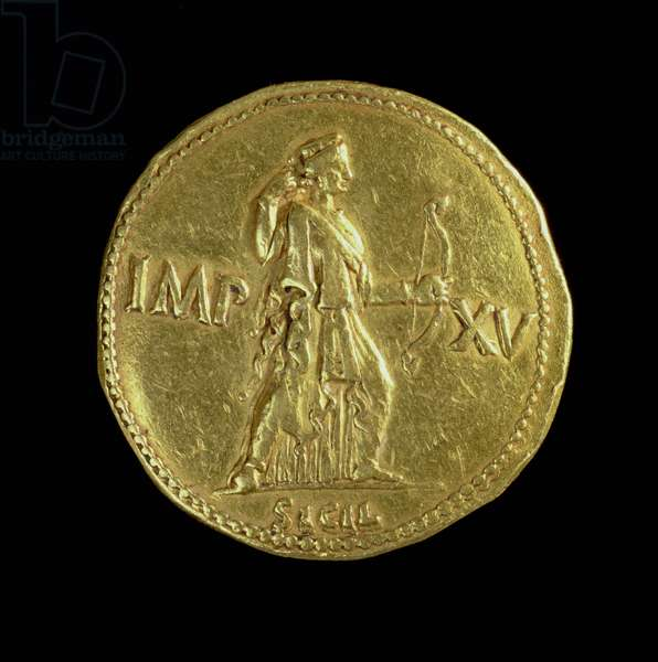 Gold multiple (reverse) of Emperor Augustus (31 BC-AD 14) depicting the goddess Diana. Inscription: IMP XV to the left and right of Diana, below SICIL (for obverse see 85232)