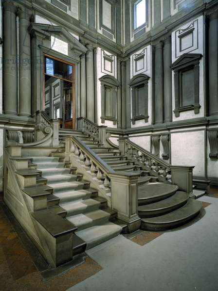 Staircase in the entrance hall of the Laurentian Library, completed by Bartolomeo Ammannati (1511-92) 1559 (photo)