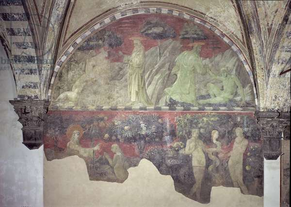 The Creation of the Animals and of Adam (upper section) the Creation of Eve and the Original Sin (lower section) lunette (fresco)