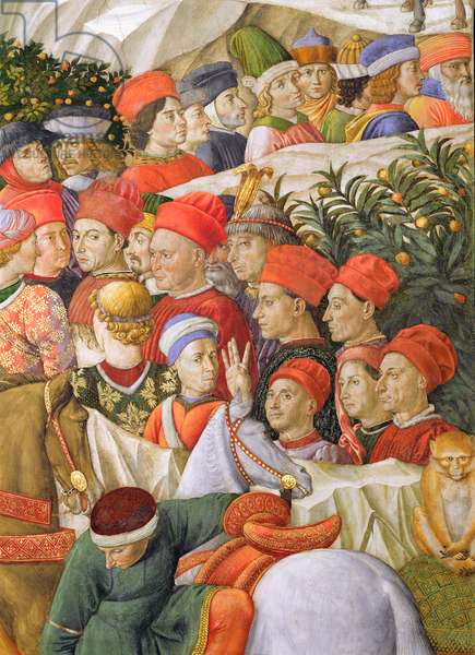 Faces in the procession, detail from the Journey of the Magi cycle in the chapel, c.1460 (fresco) (detail of 70601)