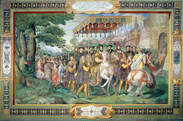 Francis I (1494-1547) and Alessandro Farnese (1546-92) Entering Paris in 1540, from the 'Sala dei Fasti Farnese' (Hall of the Splendors of the Farnese) 1557-66 (fresco)