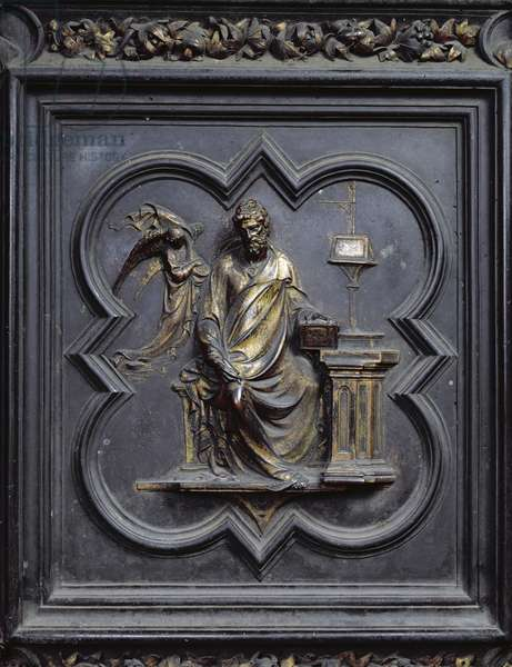 St Matthew the Evangelist, panel B of the North Doors of the Baptistery of San Giovanni, 1403-24 (bronze)