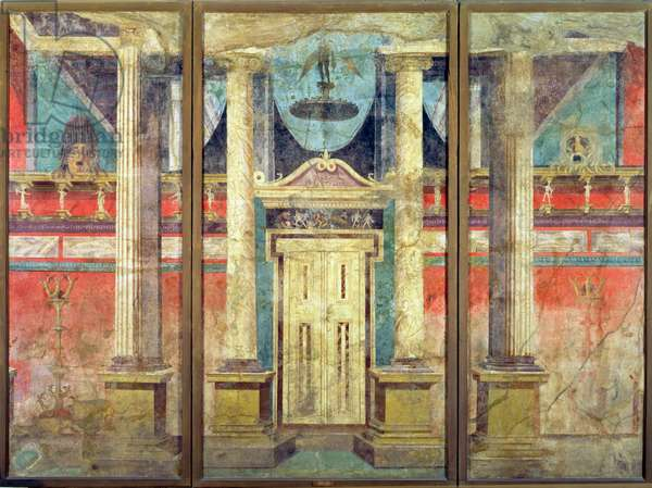 Wall decoration from the villa of P Fannius at Boscoreale, near Pompeii, derived from a Greek stage set of perhaps the century before, c.40-30 BC