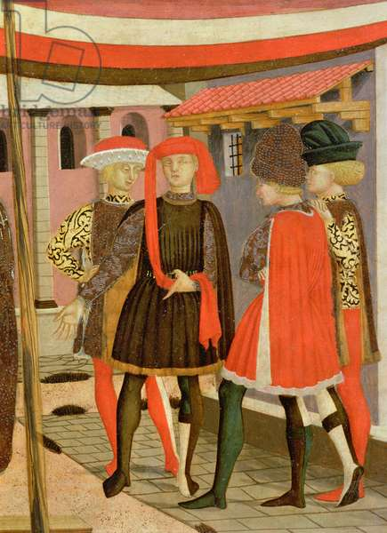 Frontal from the Adimari Cassone, detail of four men, c.1450 (tempera on panel)(detail of 80304)