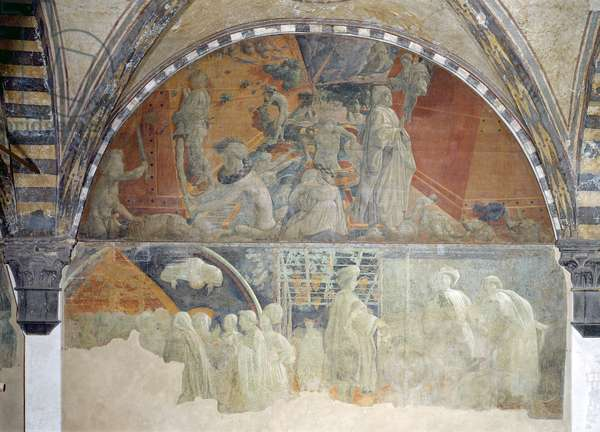 The Flood and the Subsidence of the Waters (upper section) The Sacrifice and Drunkenness of Noah (lower section) lunette (fresco) (for detail see 123196)
