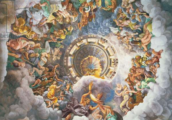The Gods of Olympus, trompe l'oeil ceiling from the Sala dei Giganti, 1528 (fresco)