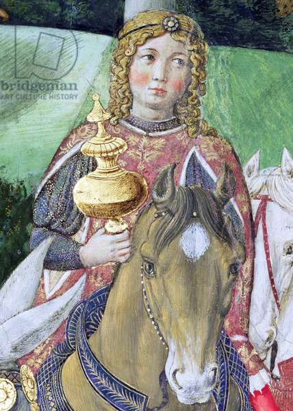 Horsemen in the royal entourage, detail from the Journey of the Magi cycle in the chapel, c.1460 (fresco) (detail of 70606)