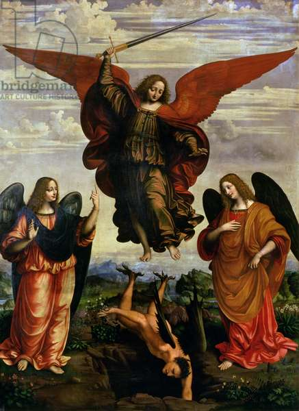 The Archangels triumphing over Lucifer (panel)