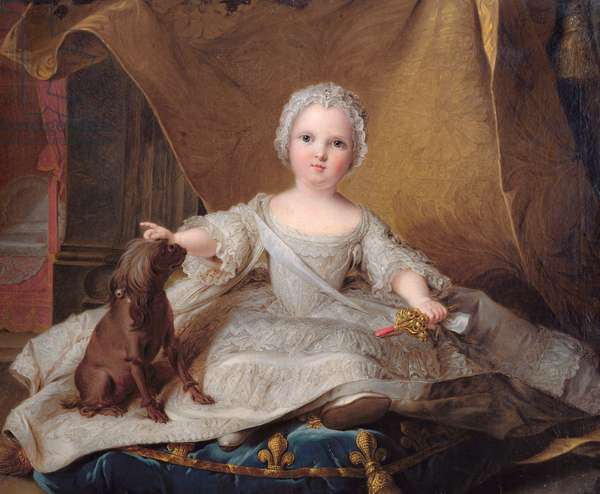Portrait of Marie-Zephyrine (1750-55) of France with her Dog, 1751 (oil on panel)