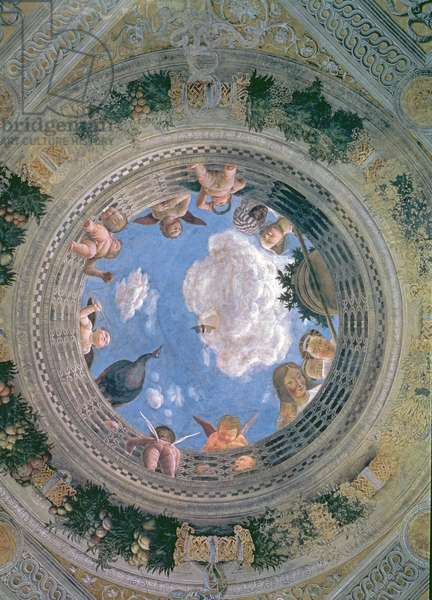 Trompe l'oeil oculus in the centre of the vaulted ceiling of the Camera Picta or Camera degli Sposi, 1465-74 (fresco) (for detail see 78525)