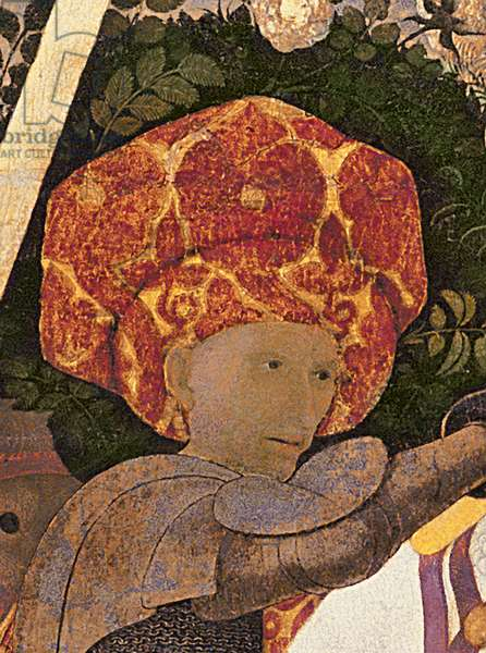 The Battle of San Romano, detail of the head of Niccolo da Tolentino (d.1435) leader of the Florentine mercenaries, c.1450-60 (tempera on panel) (detail of 30690)