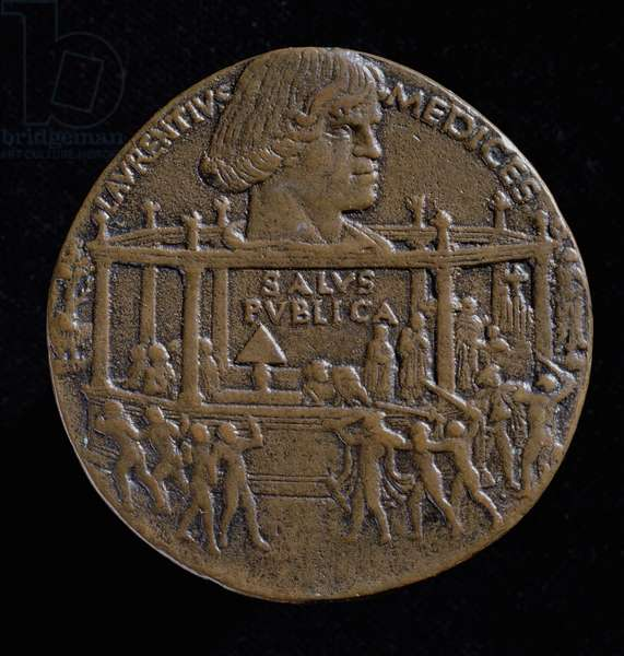 Medal with the head of Lorenzo De'Medici (1449-92) commemorating the Pazzi conspiracy of 1478 (recto) (bronze) (for verso see 120956)