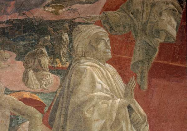 The Flood and Subsidence of the Waters and the Sacrifice and Drunkenness of Noah, detail of a praying figure, lunette (fresco)