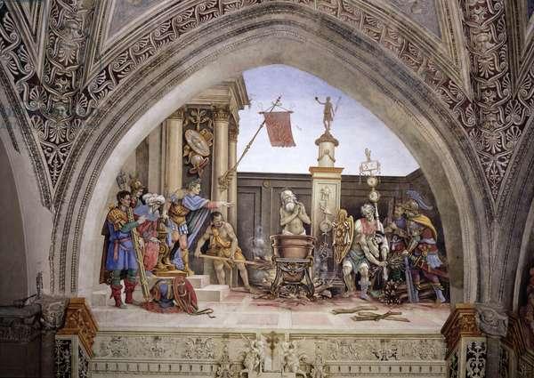 North wall of Strozzi Chapel, The Martyrdom of St. John the Evangelist, c.1457-1502 (fresco)