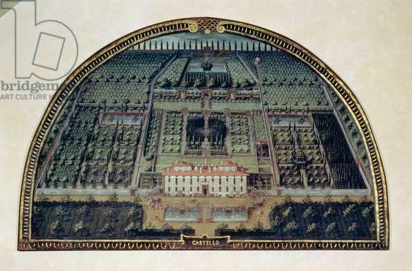 Villa di Castello from a series of lunettes depicting views of the Medici villas, 1599 (tempera on panel)