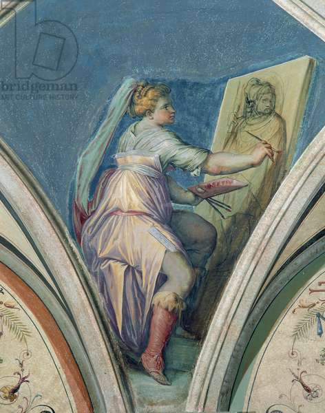 Seated woman painting a portrait of a man, possibly the artist, from the Camera della Fama e delle Arti (Hall of Fame and of the Arts) 1542 (fresco)