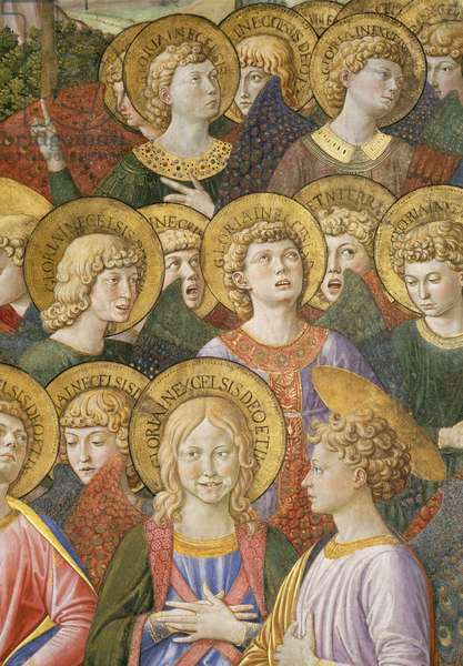 Choir of Angels, detail from the Journey of the Magi cycle in the chapel, c.1460 (fresco) (detail of 70615)