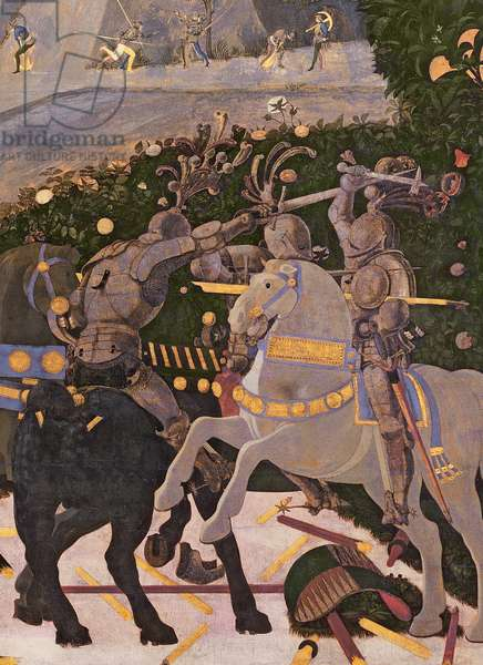 The Battle of San Romano, detail of two cavalrymen engaged in combat, c.1450-60 (tempera on panel) (detail of 30690)