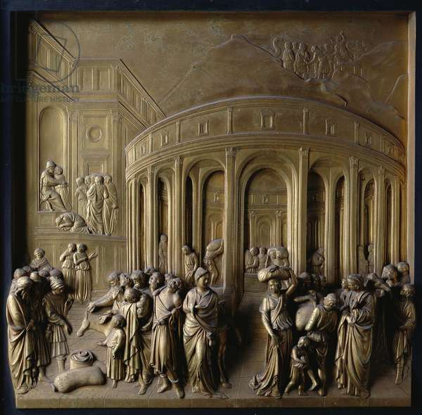 The Story of Joseph: Joseph sold into Slavery, The Finding of the Silver Cup and Joseph recognised by his Brethren, one of ten relief panels from the Gates of Paradise (East doors), 1425-52 (gilt bronze) (see also 87653-56 & 87358-67)